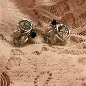 Vintage Silver and Blue Clip On Earrings